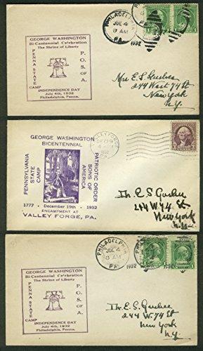 George Washington Bicentennial 1932 postal covers Pennsylvania Lot of THREE