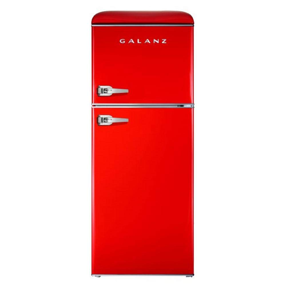 Galanz - Retro Look Refrigerator, 4.6 Cu Ft Refrigerator Dual Door True Freezer (RETRO), ESTAR Red