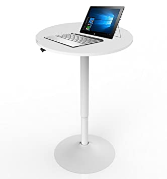 Astonishing Allcam Acwst50A Gas Spring Office Meeting Round Table Standing Desk White Height Adjustable 70 106 Cm Interior Design Ideas Ghosoteloinfo