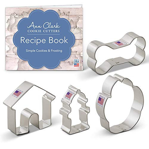 - Dog Themed Cookie Cutter Set - 4 Piece - Dog Bone, Paw Print, Fire Hydrant, and Dog House - Ann Clark Cookie Cutters - US Tin Plated Steel