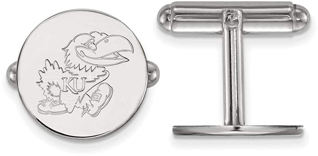 SS071UKS Sterling Silver University of Kansas Cuff Links by LogoArt