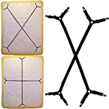 2PCS Bed Sheet Suspenders Straps Adjustable Crisscross Holder Grippers Fastener for Fitted Sheet Twin Queen King Bed, Elastic Mattress Pad Duvet Cover Flat Sheets Band Clips on Corner (Long, Black)