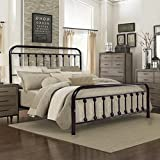 Antique Bronze Metal Platform Bed Box Spring Replacement Foundation with Headboards & Hevay Duty Steel Slats, Full