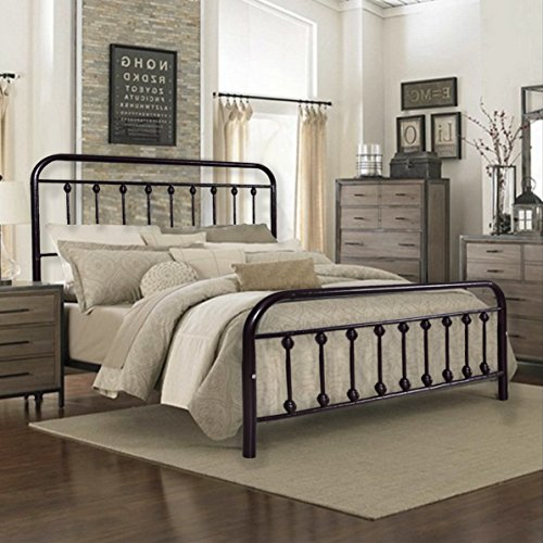 HomeRecommend Dark Bronze Metal Bed Frame Platform Box Spring Replacement Foundation with Headboards & Hevay Duty Steel Slats, (Dark Copper Frame)
