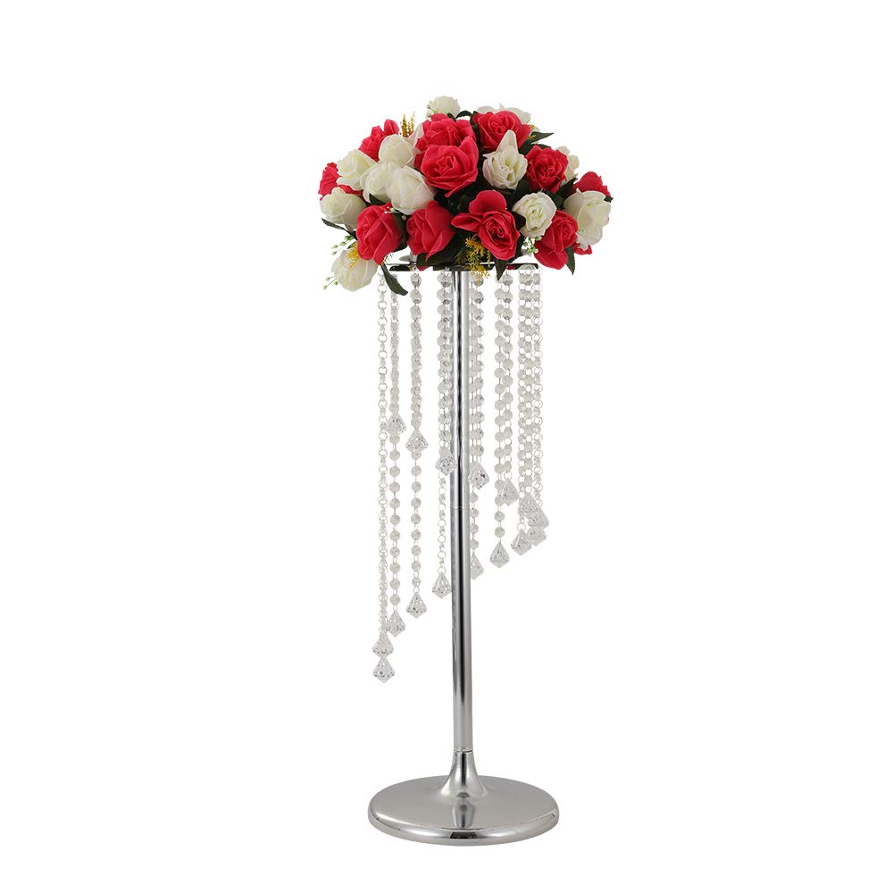 LANLONG 27.5'Tall Wedding Table Centerpiece, Candle Holder, Candlestick, Road Lead Flower Stand, Wedding Home Christmas Decoration Christmas Decor Decorations for Living Room (Silver, 27.5')