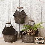 Cheap Rustic Wall Buckets – Galvanized Wall Planter – Farmhouse Bathroom Decor – Country Decor + Farmhouse Sign – Galvanized Decor