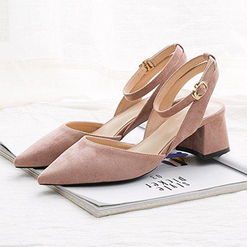 Jqdyl High Heels Spitz High Heels weiblich dick mit Sommer neuen Stil mit einem Wort Schnalle Sandalen weiblich dick mit  35|Bean powder