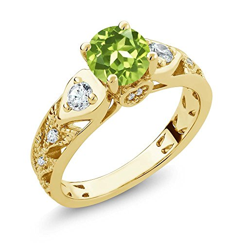 18k Peridot Ring (2.11 Ct Round Green Peridot 18K Yellow Gold Plated Silver Engagement Ring)