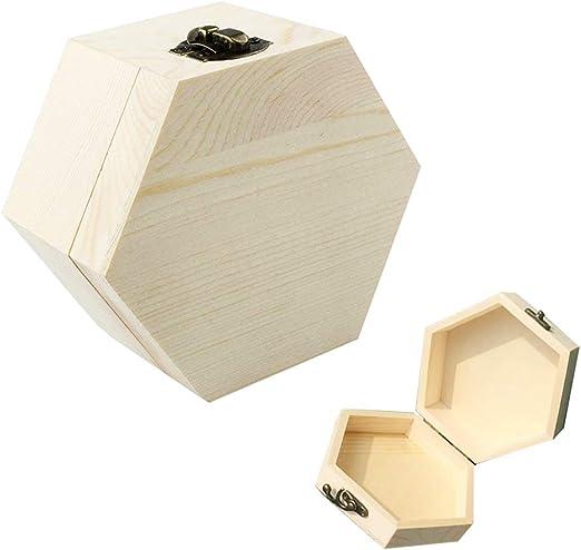 Oyfel Caja de Almacenaje Madera Marrón Caja de Madera Caja de Almacenamiento Lisa Caja de Madera para joyería Joyero De Madera Sin Terminar De Madera Cuadrada del Arte DIY De Niño: Amazon.es: