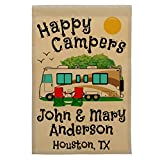 Cheap Happy Campers Personalized Motorhome Campsite Flag, Customize Your Way, Flag Only (Gold/Brown Trim)