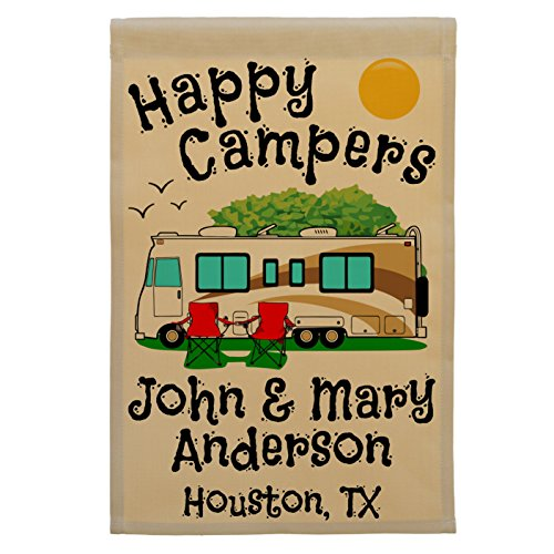 Happy Campers Personalized Motorhome Campsite Flag, Customize Your Way, Flag Only (Gold/Brown Trim)