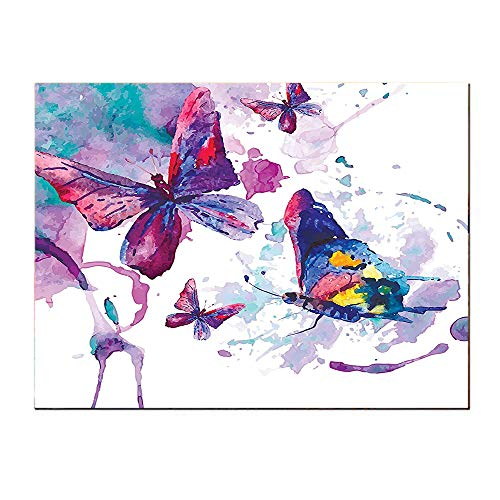 (SATVSHOP Modern painting-24Lx20W-Watercolors of Butterfly Sign of The Soul Power Female Art Modern Home Self-Adhesive backplane/Detachable Modern Decorative Art.)
