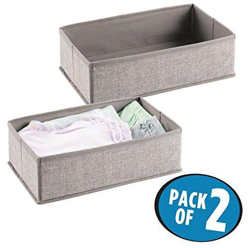 mDesign Soft Fabric Dresser Drawer and Closet Storage Organizer Set for Child/Baby Room, Nursery, Playroom, Bedroom – Rectangular Organizer Bins with Textured Print - Pack of 2, ()