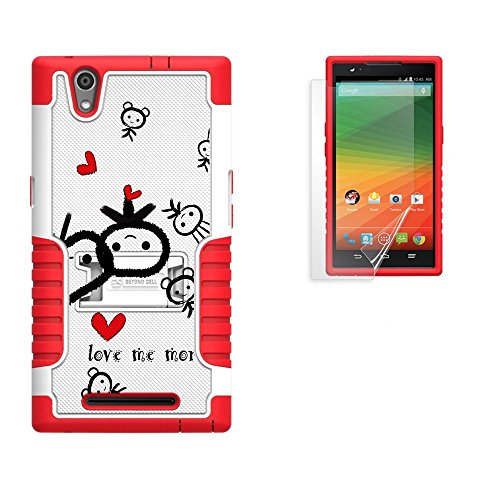 Spots8 ZTE Z Max Z970 Case Kickstand Heavy Duty Armor Shock Proof Screen protector White Red TPU Love Me More