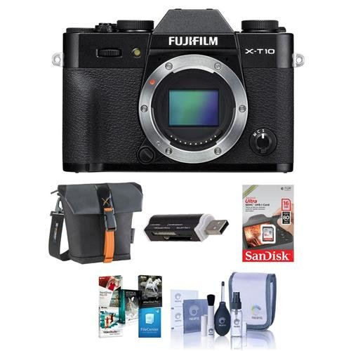 Fujifilm-X-T10-Mirrorless-Camera-Body-Black-Bundle-With-16GB-SDHC-Card-Holster-Bag-Cleaning-Kit-Card-Reader-Software-Package