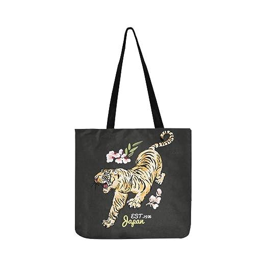 Tigre bordado patrones y rosas lienzo bolso bolso bandolera ...