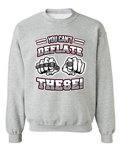 You Can't Deflate These Champion New England Football DT Crewneck Sweatshirt (Medium, Sports Gray)