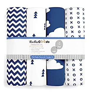 Changing Pad Cover – Premium Baby Changing Pad Covers 4 Pack – Boy or Girl Changing Pad Cover – Pure Cotton Machine Washable Navy and White Changing Table Cover – Diaper Changing Pad Cover Sheets
