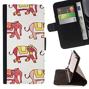 For Samsung Galaxy A3 Case , Elefante India Moda Amarillo Rojo Blanco- la tarjeta de Crédito Slots PU Funda de cuero Monedero caso cubierta de piel