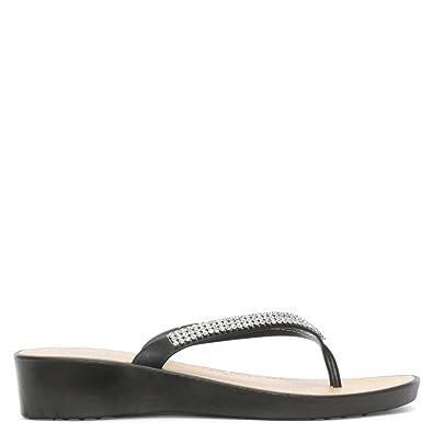 1a6f2988ea2 DF By Daniel Sunny Black Crystal Toe Post Wedge Flip Flops 39 Black Patent