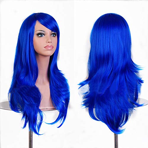 TopWigy Dark Blue Cosplay Wigs Long Curly Hair Wig Synthetic Heat Resistant Natural Wave Costume Party Colored Women Wig