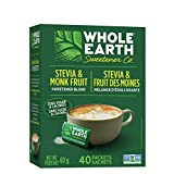 Whole Earth Sweetener Company Stevia & Monk Fruit Sweetener, Erythritol Sweetener, Sweet Leaf Stevia Packets, Sugar Substitute, Natural Sweetener, 40-Count