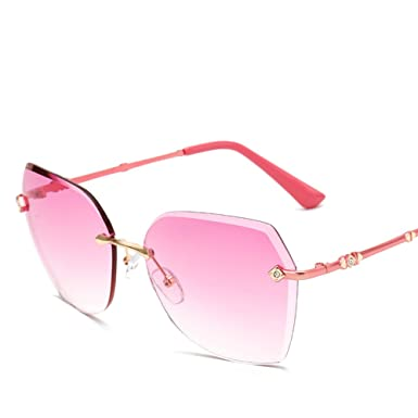 New Brand Designer Women Sunglasses Fashion Gradient Rimless Sunglasses Frog Mirror For Women Gradient Sunglasses SWEBn