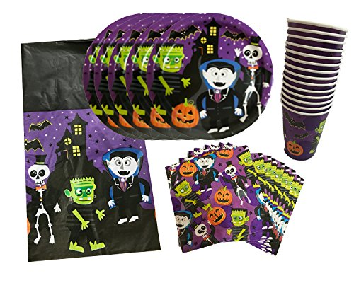 Cute Halloween Pumpkins Ideas (Halloween Cute Monster Goblin Party Pack Tableware Set, 4 Piece Bundle with Dinner Plates, Napkins, Cups, Tablecloth, Serves 14)