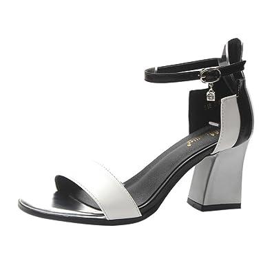 ac1a812b24cf00 SANFASHION Chaussures Femme Sandale a Talon Chic Escarpins Paillettes  Confortables Élégant Soirée (34, Blanc