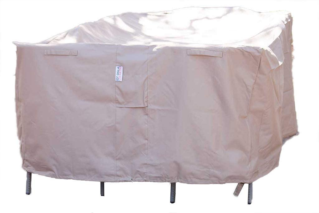 Dola Patio Table Cover Rectangle Heavy Duty 600D-100 Polyester Waterproof Outdoor Dining Table Chair Set Cover 99 x 59 x 31.5
