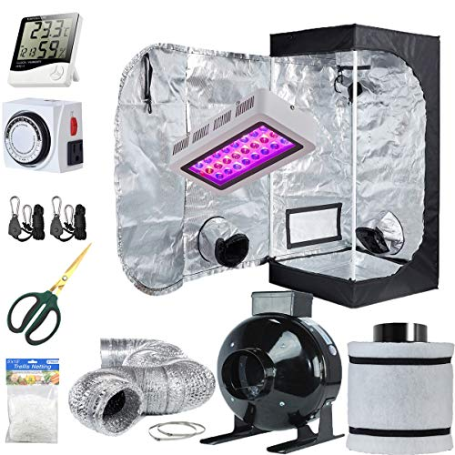 TopoLite Grow Tent Setup Complete Kit LED 300W Grow Light + 24