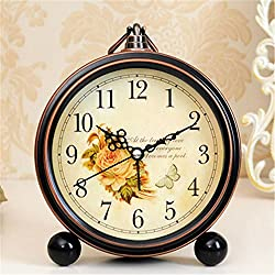 FirstDecor 5 inch European style Classic Arabic Numbers Flower and Butterfly pattern Alarm Clocks Silent Quartz Retro Vintage Desktop Clock Desk Clock Wall clock Home Decoration