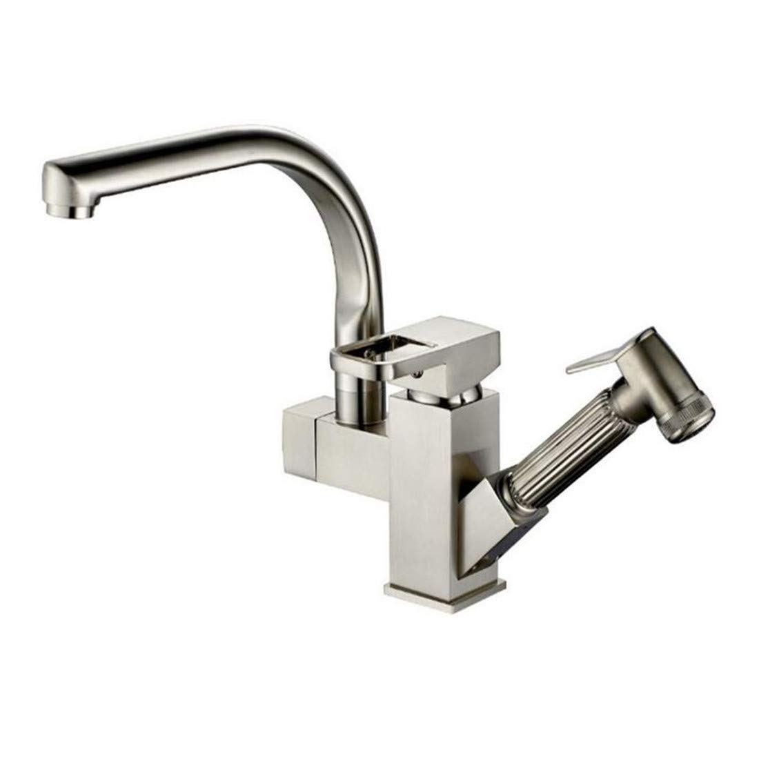 Modern Brass Chrome Hot and Cold Water All Copper and Nickel Wire Drawing Kitchen Kitchen Faucet Pull Deck Cold and Hot Water