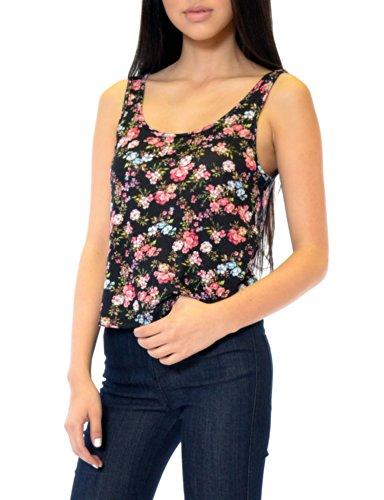 Azkara Womens Floral Bow Back Rayon Sleeveless Top Large Black