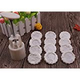 Lucky Gourd 12 Zodiac Animal Cartoon Moon Cake Mould Pattern DIY Mooncake Pastry Mold 50g (White)
