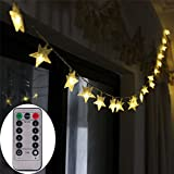 [UPGRADED VERSION] 16 Feet 50 LED Christmas Star LED String Lights with Remote & Timer Battery Operated Fairy String Lights for Indoor & Outdoor Garden, Wedding Decoration (Warm White)