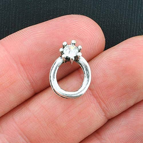 6 Engagement Ring Charms Antique Silver Tone with Inset Rhinestone Jewerly Making Supply Bracelet DIY Crafting by Easy to be happy! ()