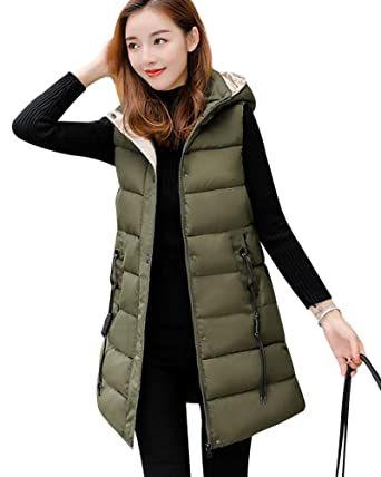 e29c2b2449 Damen Weste Lang Mantel Outwear Ärmellose mit Kapuze Steppweste  Wintermantel Vest Armeegrün L