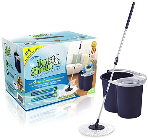 Twist and Shout Mop - The Award-winning Original Hand Push Spin Mop - Life Time Warranty (Complete System including 2 Microfiber Mopheads) (System Baseboard)