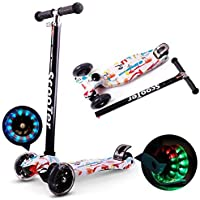 Farraige® Kick Scooter for Kids 3 Wheel Scooter for Toddlers Girls & Boys, 4 Adjustable Height, with PU LED Light Up Wheels for Children from 3 to 14 Years Old