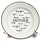 3dRose cp_47767_1 Mother Words- Mothers Day & Every Day For Mom Porcelain Plate, 8''