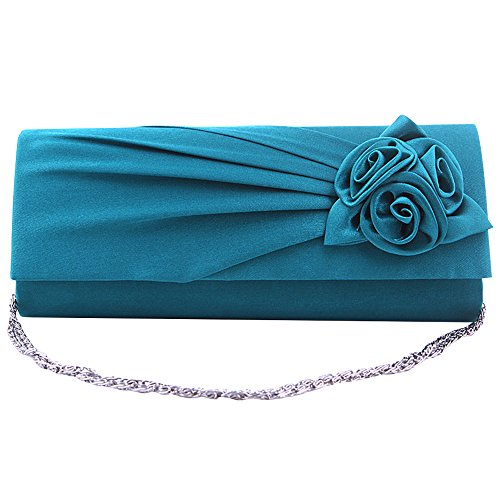 New Wedding Handbag Party Women Clutch Design Wiwsi Evening Satin Turquoise Ivory Hot Floral Bag fF10q4d4wU