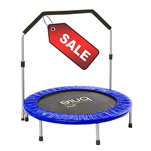 Circular Trampoline Round Blue Black Mat Adaptable Height of Handrail Exercise Workout & eBook by Easy&FunDeals by EFD