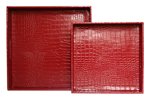 woosal-home-decorative-tray-set-of-2-square-alligator-faux-leather-serving-tray-with-handles-for-ott
