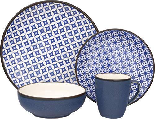 Sango 3625BL800ACM24 Crystal 16-Piece Stoneware Dinnerware Set, Blue