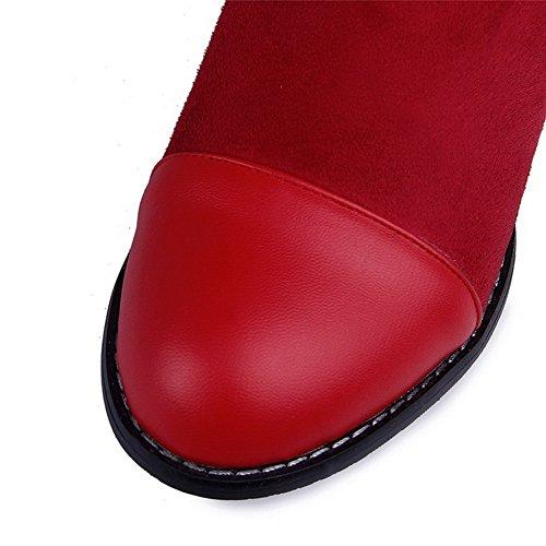 AllhqFashion Mujeres Caña Media Sólido Sin cordones Tacón ancho Botas con Hebilla Metal Rojo