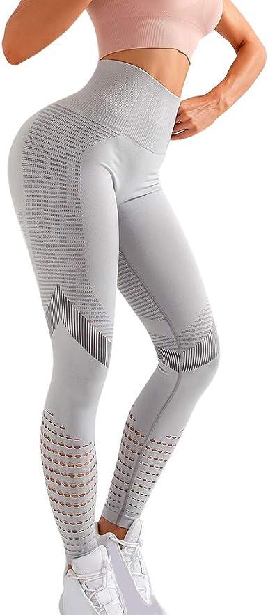 Skang Legging de Sport Femmes Taille Haute Fitness Leggings Slim Fit Pantalon de Yoga Leggings de Compression Anti-Cellulite Mode Solide Couleur Bodybuilding Pantalons