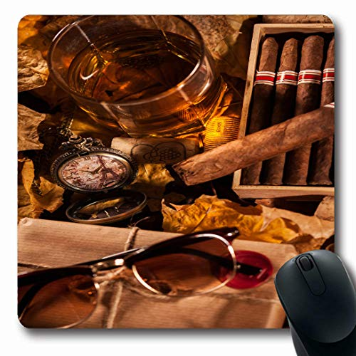 - Ahawoso Mousepads for Computers Elegance Whiskey Time Relax Complete Pleasures Food Drinks Drink Cigar Humidor Scotch Alcohol Ancient Oblong Shape 7.9 x 9.5 Inches Non-Slip Oblong Gaming Mouse Pad