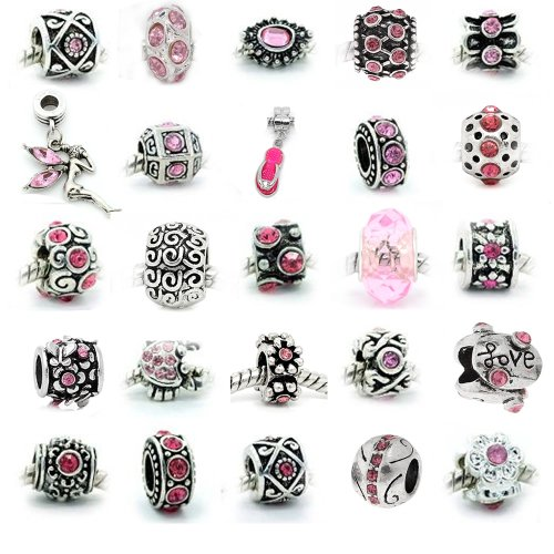 - SEXY SPARKLES 10Pcs (10) of Assorted Pink Rhinestone and Metal Beads Charms Spacers for European Chain Bracelet