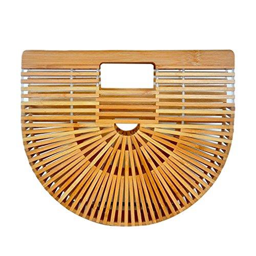 Totes Woven Handbag Ladies wooden color For Beach Mainkiki Bag Women Handmade Bamboo pwqxacU05